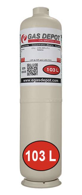 103 Liter-Carbon Monoxide 100 ppm/ Propane 1.05% (50% LEL)/ Oxygen 20.9%/ Nitrogen