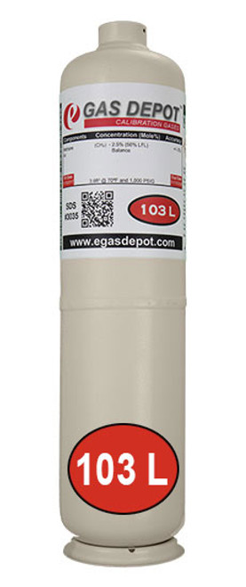103 Liter- Methane 1.0% (20% LFL)/ Air CalGaz Equivalent 6D360217