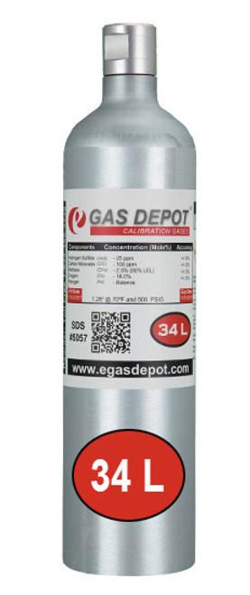 34 Liter-Hydrogen Sulfide 20 ppm/ Carbon Monoxide 60 ppm/ Methane 1.45% (58% LEL Pentane Equiv.)/ Oxygen 15.0%/ Nitrogen