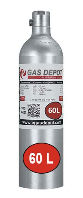 60 Liter-Hydrogen Sulfide 25 ppm/ Carbon Monoxide 100 ppm/ Methane 2.5% (50% LEL)/ Oxygen 18.0%/ Nitrogen (GC Mix)