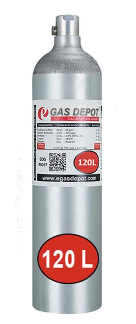 120 Liter-Hydrogen Sulfide 40 ppm/ Carbon Monoxide 200 ppm/ Methane 2.5% (50% LEL)/ Oxygen 20.9%/ Nitrogen