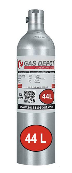 44 Liter-Hydrogen Sulfide 50 ppm/ Carbon Monoxide 100 ppm/ Methane 2.5% (50% LEL)/ Oxygen 20.9%/ Nitrogen