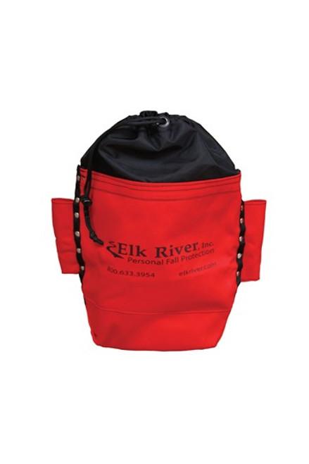 "Bolt Bag Red Drawstring Top Belt Tunnel Tool Loops 10"" x 9"" x 4"""