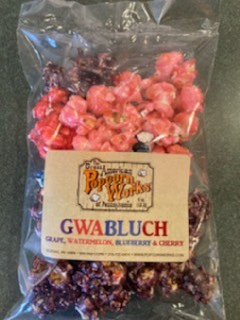 GWABLUCH - A rainbow of colors and flavors. A combination of our unique fruit flavors including, Grape, Watermelon, Blueberry and Cherry.