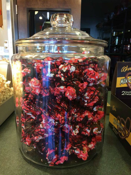 Cherry Chocolate Drizzled Popcorn - Dark Caramel