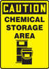 Caution - Chemical Storage Area (W/Graphic) - Re-Plastic - 14'' X 10''
