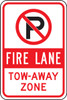(No Parking Symbol Fire Lane Tow-away Zone