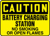 Caution - Battery Charging Station No Smoking Or Open Flames - Adhesive Dura-Vinyl - 10'' X 14''