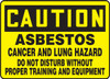 Caution - Asbestos Cancer And Lung Hazard Do Not Disturb Without Proper Training And Equipment - Adhesive Vinyl - 10'' X 14''