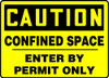 Caution - Confined Space Enter By Permit Only - Plastic - 7'' X 10''