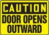 Caution - Door Opens Outward Sign