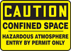 Caution - Confined Space Hazardous Atmosphere Entry By Permit Only