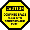 Caution - Confined Space Do Not Enter Without Obtaining Permit - Adhesive Vinyl - 12'' X 12''