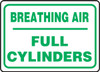 Breathing Air Full Cylinders Sign .040 Aluminum 10'' X 14''