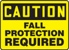 Caution - Fall Protection Required - Adhesive Vinyl - 10'' X 14''