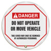 """Accuform KDD714 - ANSI Danger 16"""" Steering Wheel Message Cover: Do Not Operate Or Move Vehicle"""