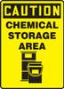 Caution - Chemical Storage Area (W/Graphic) - Dura-Plastic - 14'' X 10''