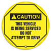 """Accuform KDD738 - ANSI Caution 24"""" Steering Wheel Message Cover: This Vehicle Is Being Serviced Do Not Attempt To Drive"""