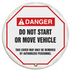 """Accuform KDD726 - ANSI Danger 20"""" Steering Wheel Message Cover: Do Not Start Or Move Vehicle"""