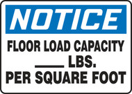 MCAP801 Notice floor load capacity sign