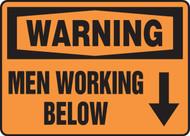 Warning - Men Working Below Sign