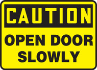 MABR610VA Caution open door slowly sign