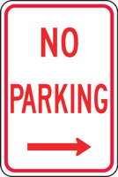 No Parking Sign- right arrow