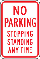 FRP169RA  No Parking Stopping Standing Any Time Sign