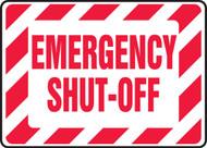 Emergency Shut-Off Sign- Red/ White