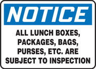 MADC822VP notice all lunch boxes, packages, bags, purses, etc are subject to inspection sign
