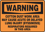 Warning - Cotton Dust Work Area May Cause Lung Injury