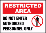 MADM409 Restricted area do not enter authorized personnel only sign