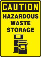 Caution - Hazardous Waste Storage (W/Graphic) - Adhesive Dura-Vinyl - 14'' X 10''