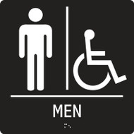 Men Restroom and Access ADA Braille Sign