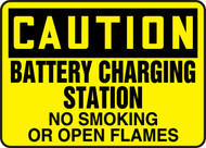 Caution - Battery Charging Station No Smoking Or Open Flames - Dura-Fiberglass - 10'' X 14''