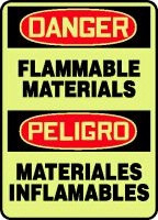 Flammable Materials Sign- Bilingual Spanish Safety Sign- glow