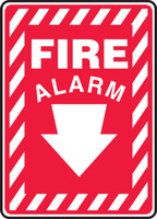 Fire Alarm (Arrow) - Adhesive Dura-Vinyl - 14'' X 10''