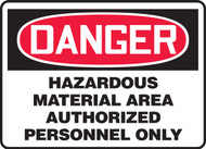 Danger - Hazardous Material Area Authorized Personnel Only