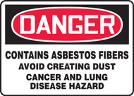 Danger - Contains Asbestos Fibers Avoid Creating Dust Cancer And Lung Disease Hazard