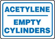 Acetylene Empty Cylinders - Adhesive Dura-Vinyl - 10'' X 14''