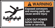 Exposed Conveyors And Moving Parts Can Cause Severe Injury Lock Out Power Before Removing Cover Or Servicing (w/graphic)