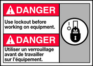 Danger Use Lockout Before Working On Equipment (W/Graphic)