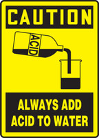 Caution - Always Add Acid To Water (W/Graphic) - Adhesive Dura-Vinyl - 14'' X 10''