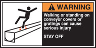 Walking Or Standing On Conveyor Covers Or Gratings Can Cause Serious Injury Stay Off (w/graphic)