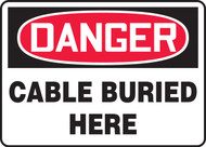 Danger - Cable Buried Here - .040 Aluminum - 10'' X 14''