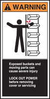 Exposed Buckets And Moving Parts Can Cause Severe Injury Lock Out Power Before Removing Cover Or Servicing (w/graphic)