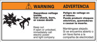 Biliingual ANSI Warning Safety Label Hazardous Voltage Inside SLELC396