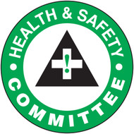 "Health And Safety Committee Hard Hat Label- 2 1/4"" 10/pkg"