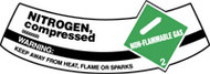 Nitrogen, Compressed Non-flammable Warning Keep Away From Heat, Flame Or Sparks