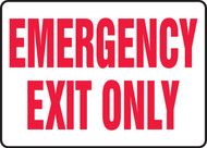 "Emergency Exit Only - 7"" x 10"" - Safety Sign - Red on White"